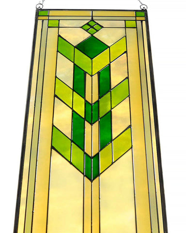 "Arts and Crafts 35.5"" Prairie Flower Art Glass Panel - Green"