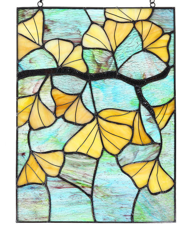 "Arts and Crafts Ginkgo Leaves Stained Glass Panel - 17.5"" x 13"""