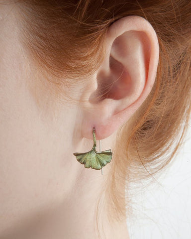 Single Ginkgo Leaf Bronze Earrings by Michael Michaud
