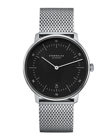 Sternglas Naos Black / Steel Milanaise Watch