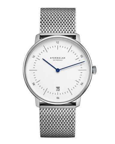 Sternglas Naos White / Steel Milanaise Watch