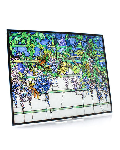 Tiffany Wisteria Stained Glass Panel Angle