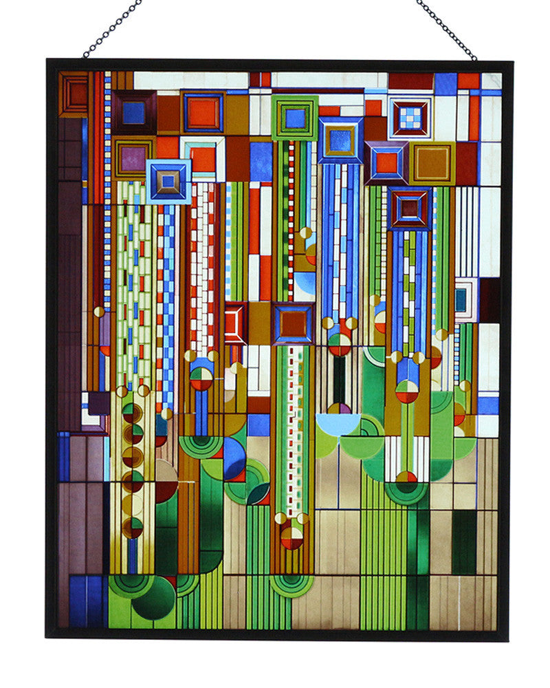 Frank Lloyd Wright Saguaro Stained Glass Metal Framed Maclin Studio