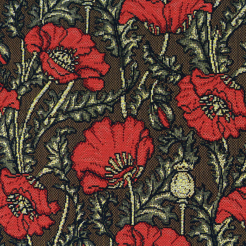 William Morris Red Poppies Tapestry Pillow Closeup