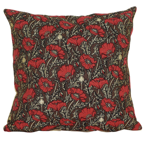 William Morris Red Poppies Tapestry Pillow