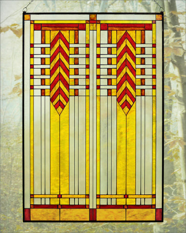 Chevron Art Glass Panel Red