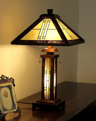 Arts & Crafts Earle Stained Glass Table Lamp display