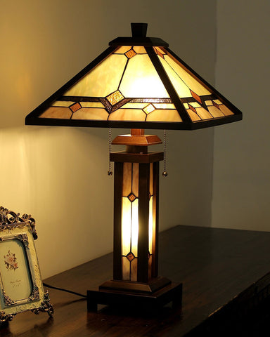 Arts & Crafts Kay Stained Glass Table Lamp display