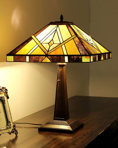 Arts & Crafts Kieth Stained Glass Table Lamp