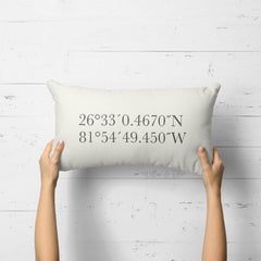Decorative Lumbar Throw Pillow - GPS Map Coordinates