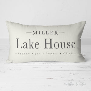 Decorative Lumbar Throw Pillow - Lake House Family Name