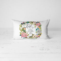 Decorative Lumbar Throw Pillow - Fruit of the Spirit Wreath - pink