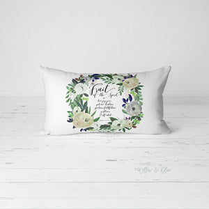 Decorative Lumbar Throw Pillow - Fruit of the Spirit Wreath - green