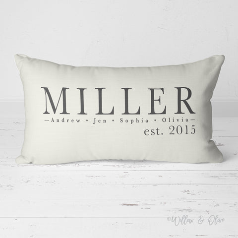 Decorative Lumbar Throw Pillow - Family Names Pillow & Est Date