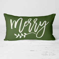 Decorative Lumbar Throw Pillow - Merry (pine green)
