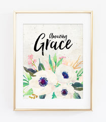 Amazing Grace Bible Verse Art Print in Watercolor Floral
