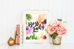 Boss Lady Floral Watercolor Style Art Print
