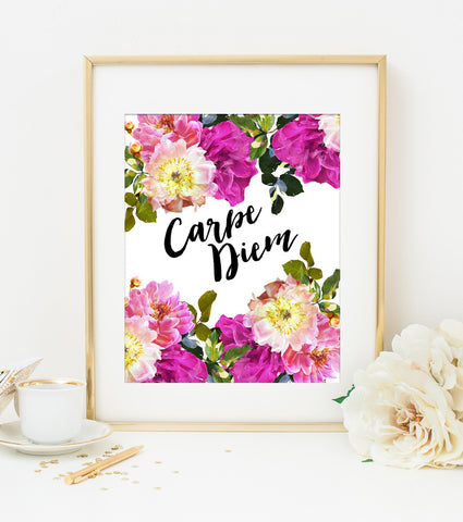 Carpe Diem Art Print in Watercolor Florals