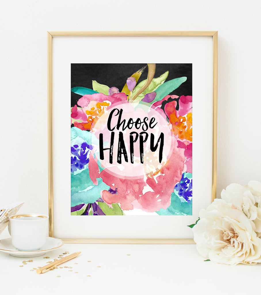 Choose Happy Art Print in Watercolor Florals