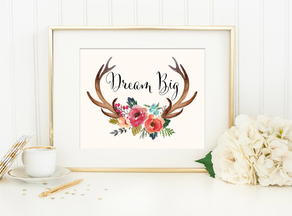 DREAM BIG ANTLERS & FLOWERS with Cream Background Tribal Art Print