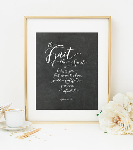 The Fruit of the Spirit Bible Verse Art Print on Chalkboard Style Background