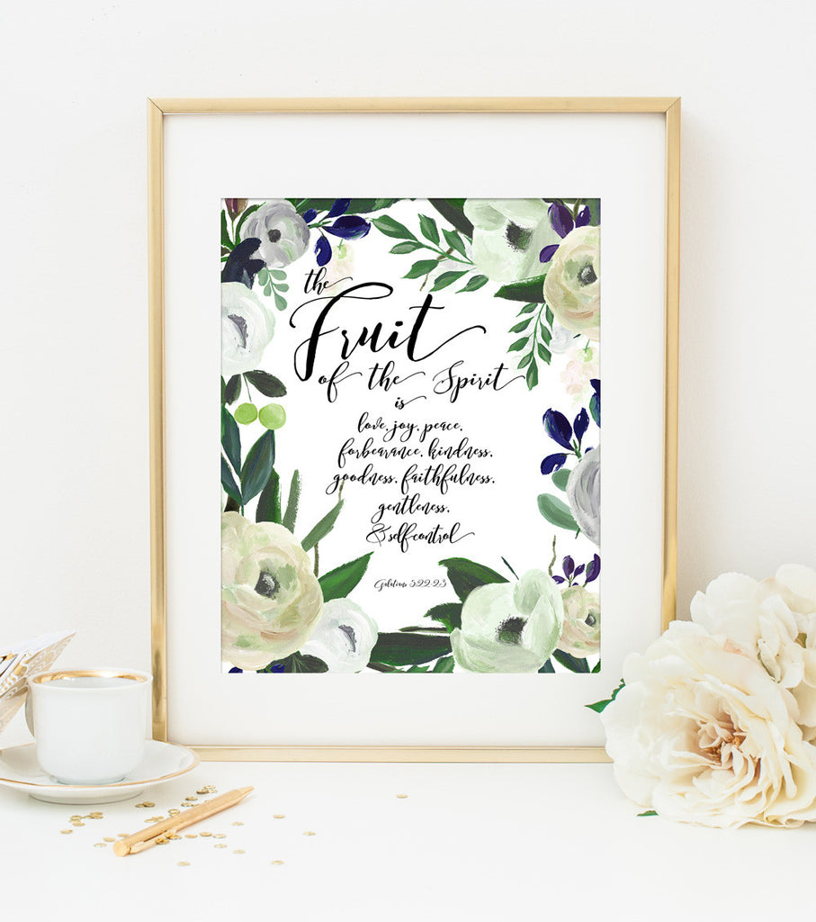 The Fruit of the Spirit Bible Verse Art Print in Cream Watercolor Floral
