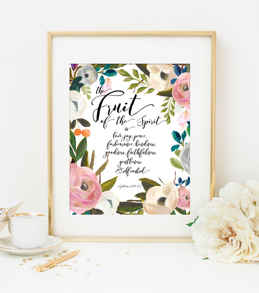 The Fruit of the Spirit Bible Verse Art Print in Pink Watercolor Floral