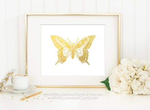 BUTTERFLY 2 Faux Gold Foil Art Print