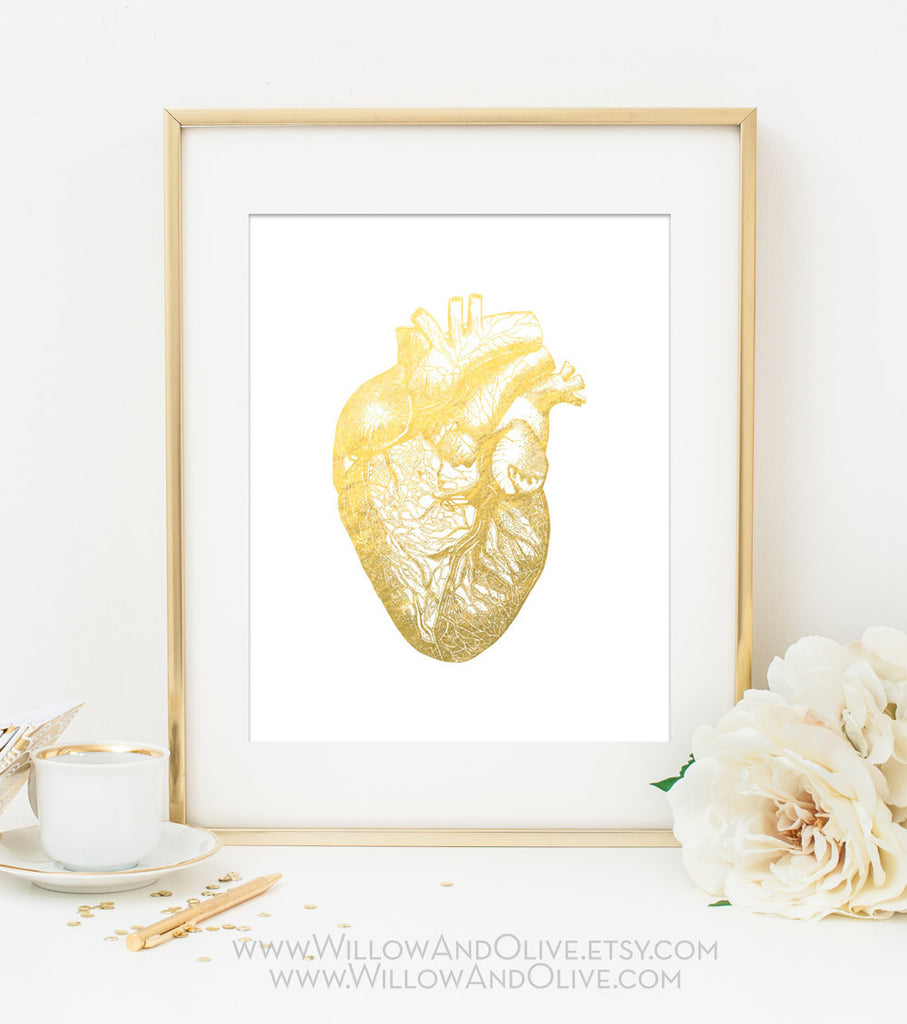 HEART - ANATOMY Faux Gold Foil Art Print