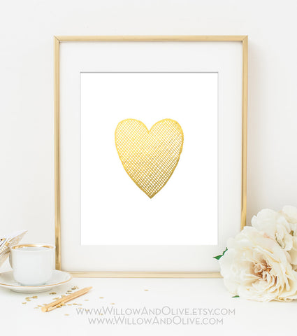 HEART - CROSSHATCH Faux Gold Foil Art Print