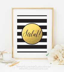 SALUT! Stripe Faux Gold Foil Art Print