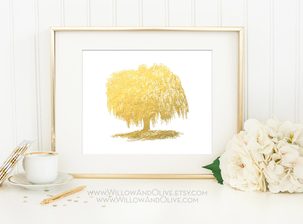 WILLOW TREE Faux Gold Foil Art Print