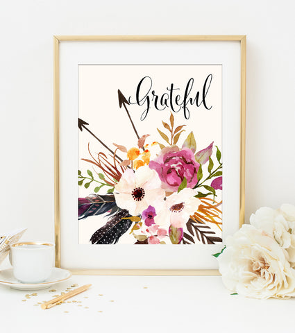 GRATEFUL ART PRINT with Cream Style Background