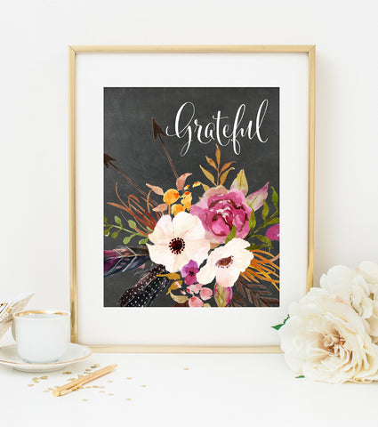 GRATEFUL ART PRINT with Chalkboard Style Background