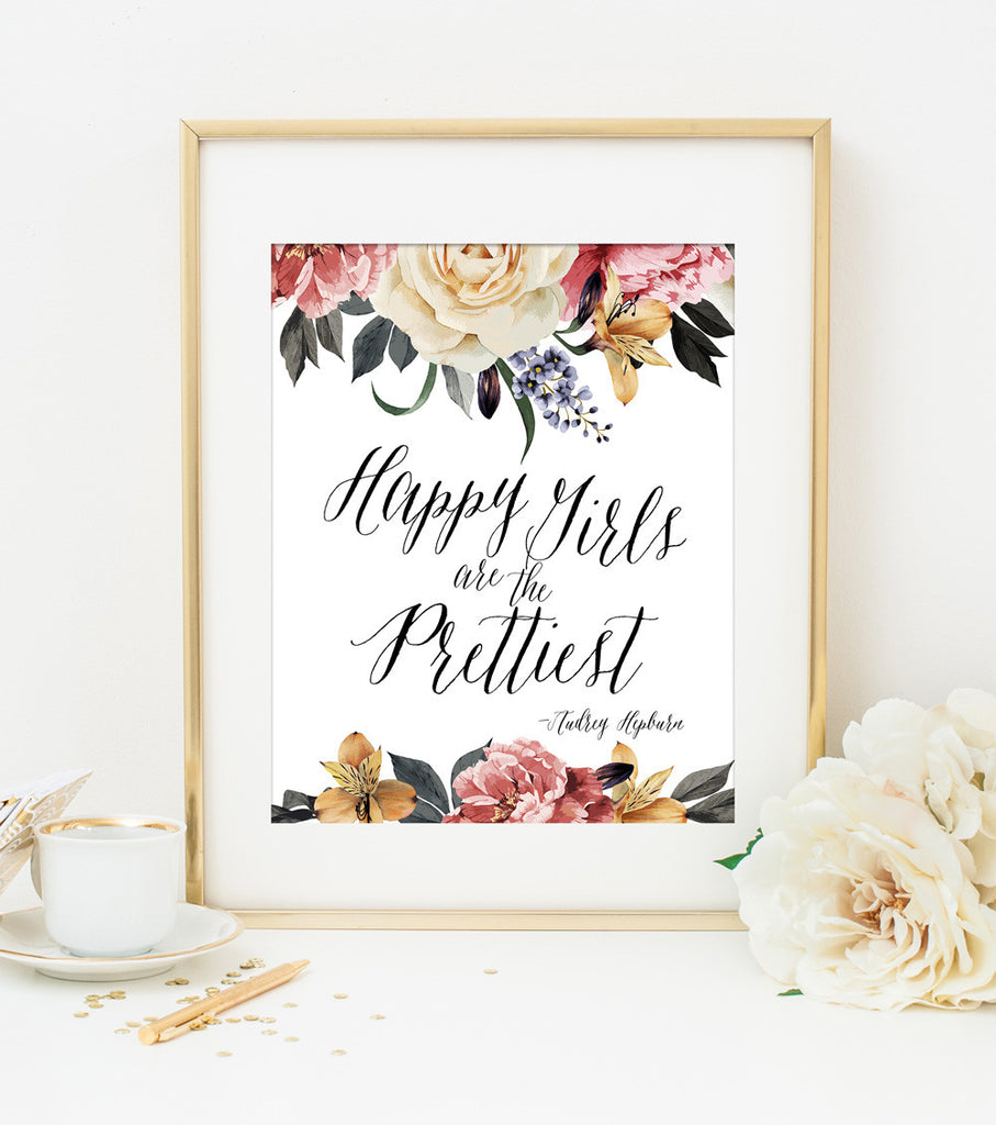 Happy Girls are the Prettiest Typography Art Print