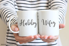 Hubby & Wife Mug Set of 2 - Wedding Engagement Coffee Mug Set - W0016