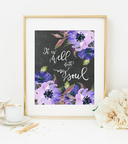 IT IS WELL WITH MY SOUL Bible Verse Art Print in Watercolor Floral