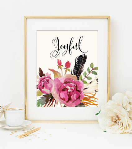 JOYFUL ART PRINT with Cream Style Background