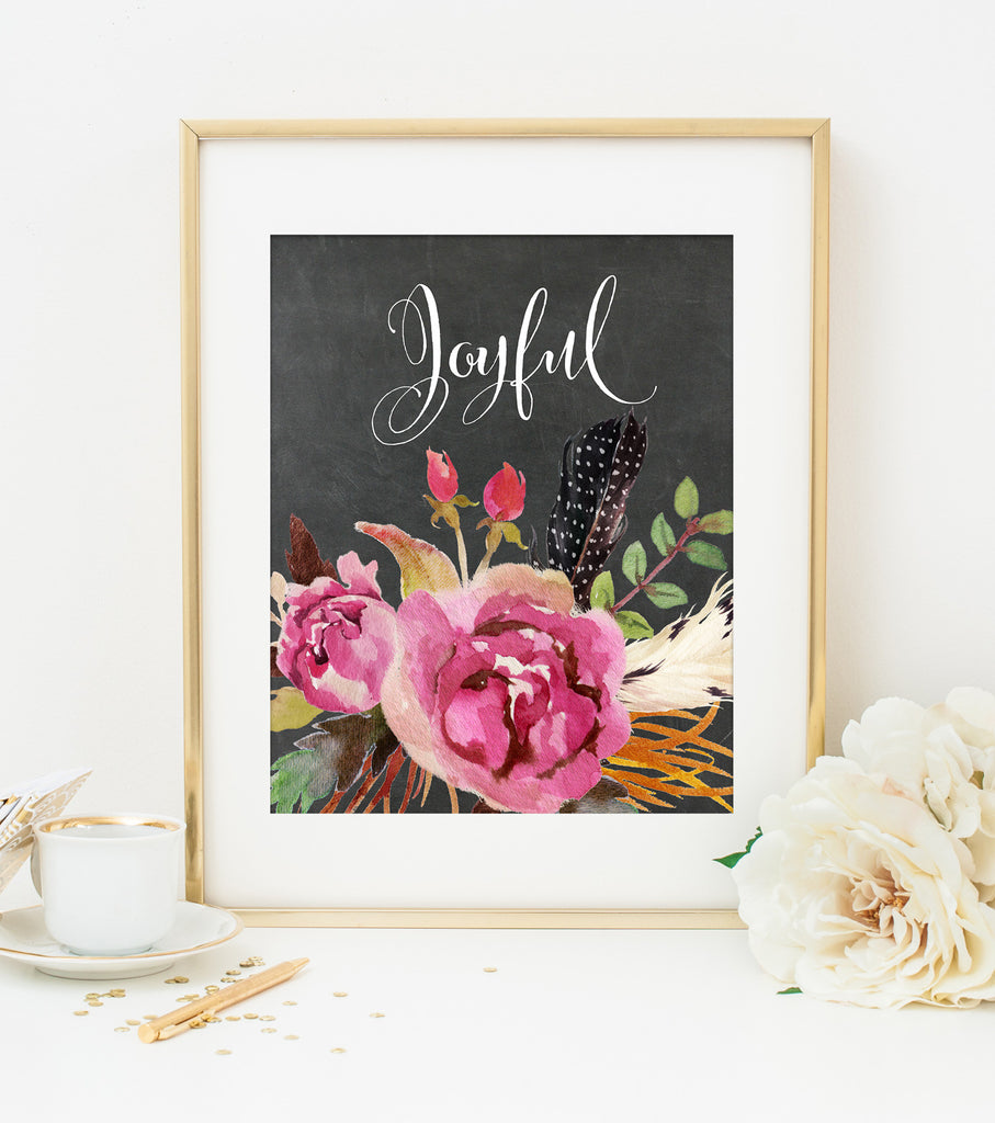 JOYFUL ART PRINT with Chalkboard Style Background