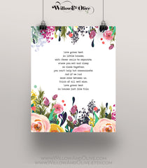 LOVE GROWS BEST IN LITTLE HOUSES Art Print on White Background