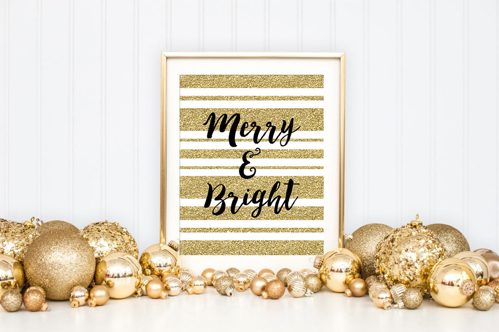 Merry & Bright Gold Sparkle Art Print - Christmas Holiday Home Decor