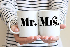 Mr & Mrs Mug Set of 2 - Wedding Engagement Mug Set - W0009