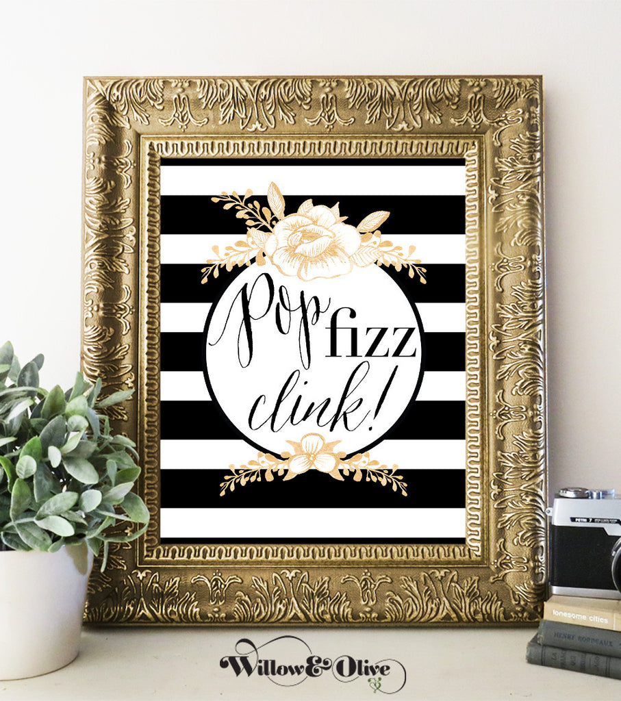 POP FIZZ CLINK WITH ROSES Art Print