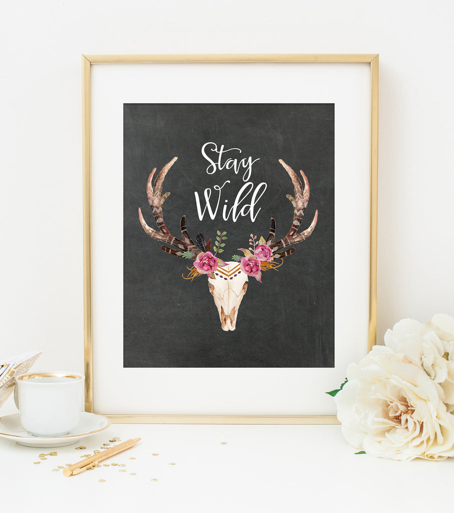 STAY WILD ART PRINT with Chalkboard Style Background