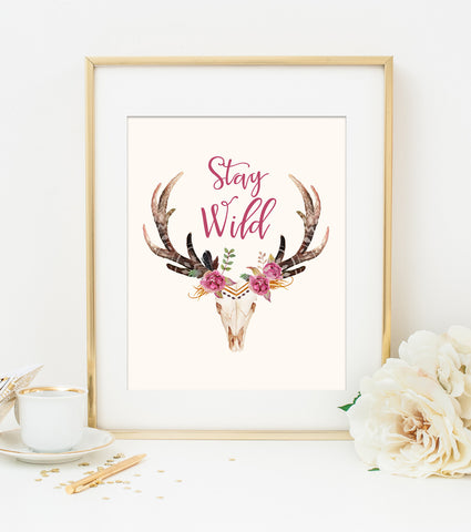 STAY WILD ART PRINT with Cream Style Background