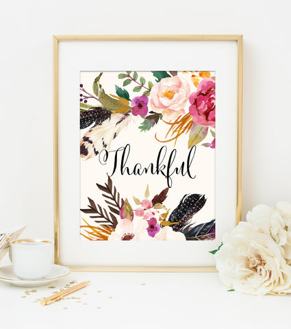 THANKFUL ART PRINT with Cream Style Background