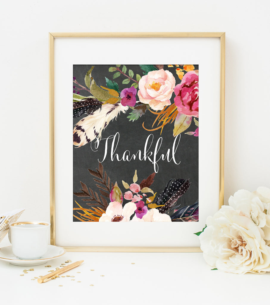THANKFUL ART PRINT with Chalkboard Style Background