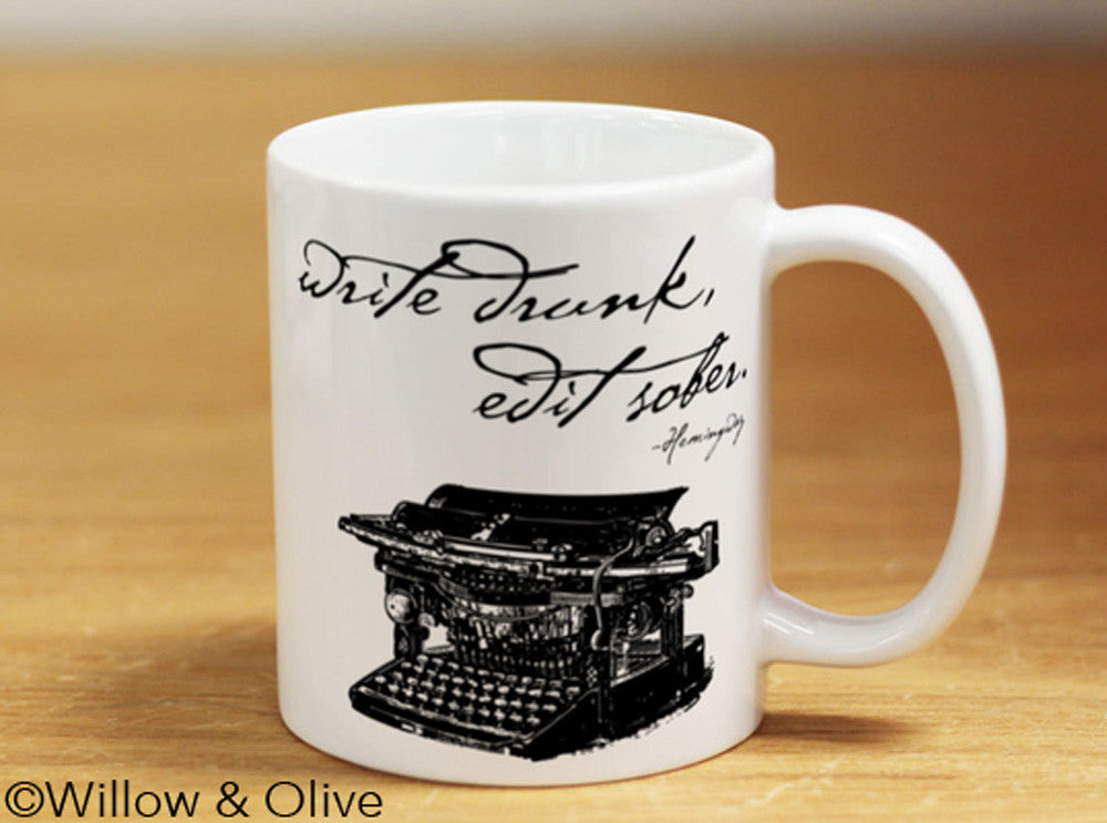 Write Edit Literary Quote Coffee Mug Willow Olive