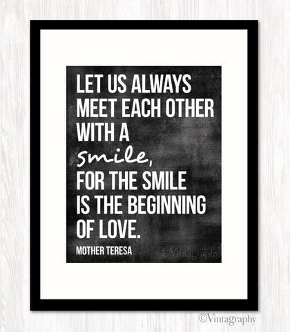 MEET EACH OTHER WITH A SMILE - Typography Art Print