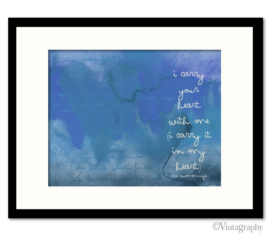 I CARRY YOUR HEART - EE Cummings - Vintage Blue Art Print
